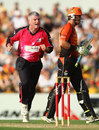 Stuart MacGill celebrates dismissing Marcus North, Perth Scorchers v Sydney Sixers, BBL 2011-12 final, Perth, January 28, 2012