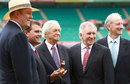 Tony Greig, Mark Taylor, Richie Benaud, Ian Chappell and Bill Lawry, Channel 9 commentators, attend the launch of the Ashes, Sydney, November 16, 2010