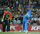 Rahul Sharma releases the ball, Australia v India, 1st Twenty20, Stadium Australia, Sydney, February 1, 2012