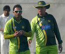 Abdur Rehman and Mohsin Khan during Pakistan's practice session, Dubai, February 1, 2012