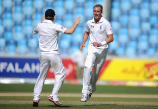 Stuart Broad celebrates his third wicket of the morning, Pakistan v England, 3rd Test, Dubai, 1st day, February 3, 2012