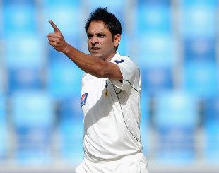 Abdur Rehman celebrates Pakistan's first breakthrough, Pakistan v England, 3rd Test, Dubai, 4th day, February 6, 2012