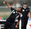 Legspinner Tarun Nethula in his delivery stride, New Zealand v Zimbabwe, 2nd ODI, Whangarei, February 6, 2012