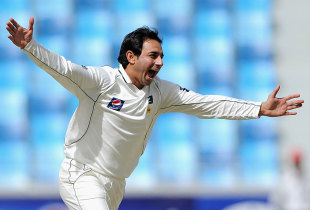 Saeed Ajmal is ecstatic after getting rid of Jonathan Trott, Pakistan v England, 3rd Test, Dubai, 4th day, February 6, 2012