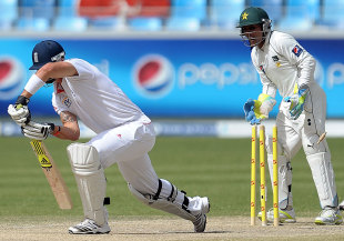 Kevin Pietersen is bowled through the gate, Pakistan v England, 3rd Test, Dubai, 4th day, February 6, 2012