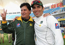 Misbah-ul-Haq with coach Mohsin Khan after Pakistan's series win, Pakistan v England, 3rd Test, Dubai, 4th day, February 6, 2012