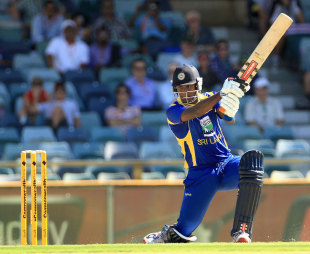 Angelo Mathews drives through the off side, India v Sri Lanka, CB Series, 2nd ODI, Perth, February 8, 2012