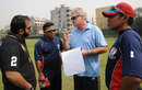Dean Jones talks to the Chittagong Kings coaching staff, Dhaka, February 8, 2012