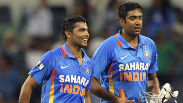 Ravindra Jadeja and R Ashwin walk off after India's win
