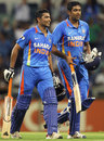 Ravindra Jadeja and R Ashwin walk off after India's win, India v Sri Lanka, CB Series, 2nd ODI, Perth, February 8, 2012