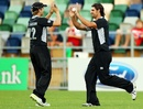 Colin de Grandhomme and Kane Williamson celebrate a wicket, New Zealand v Zimbabwe, 3rd ODI, Napier, February 9, 2012