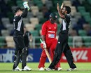 Tarun Nethula and Brendon McCullum celebrate Prosper Utseya's wicket, New Zealand v Zimbabwe, 3rd ODI, Napier, February 9, 2012