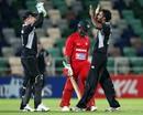 Tarun Nethula and Brendon McCullum celebrate Prosper Utseya's wicket, New Zealand v Zimbabwe, 3rd ODI, Napier, February 9, 2012