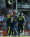 The Australians celebrate a wicket, Australia v Sri Lanka, Commonwealth Bank Series, Perth, February 10, 2012