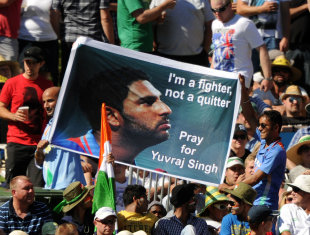 A message of support for Yuvraj Singh, Australia v India, Commonwealth Bank Series, Adelaide, February 12, 2012