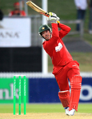 Brendan Taylor plays an inside-out shot, New Zealand v Zimbabwe, 2nd Twenty20 international, Hamilton, February 14, 2012