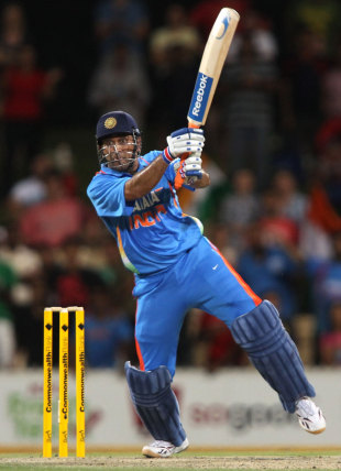 MS Dhoni carves the last ball for three through the covers to tie the game, India v Sri Lanka, Commonwealth Bank Series, Adelaide, February 14, 2012