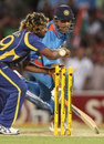 Lasith Malinga misses a chance to run out MS Dhoni in the final over, India v Sri Lanka, Commonwealth Bank Series, Adelaide, February 14, 2012