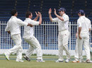 Gordon Goudie celebrates one of his three wickets