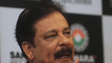 Sahara group chairman Subrata Roy at a press conference