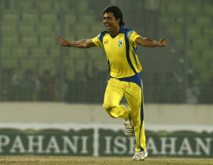 Mohammad Sami celebrates his hat-trick, Dhaka Gladiators v Duronto Rajshahi, Bangladesh Premier League, Mirpur, February 16, 2012