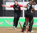 Anya Shrubsole celebrates bowling Frances MacKay, New Zealand Women v England Women, 2nd T20, Hamilton, February 19, 2012