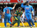 Michael Hussey is about to be wrongly ruled stumped by the third umpire, a decision that was quickly reversed