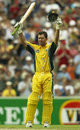 MELBOURNE - DECEMBER 15: Ricky Ponting raises his arms after reaching his century in the One Day International match between Australia and England at the Melbourne Cricket Ground in Melbourne, Australia on December 15, 2002.