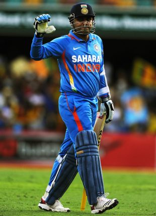 Virender Sehwag was out for a duck, India v Sri Lanka, CB Series, Brisbane, February 21, 2012