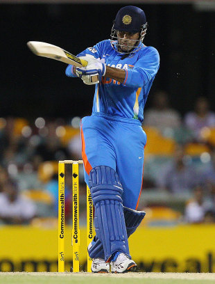 Irfan Pathan played some powerful shots to the on side, India v Sri Lanka, CB Series, Brisbane, February 21, 2012