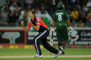 Steven Finn celebrates having Awais Zia caught
