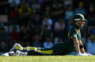 Michael Clarke had some back trouble during his innings, Australia v Sri Lanka, CB Series, Hobart, February 24, 2012