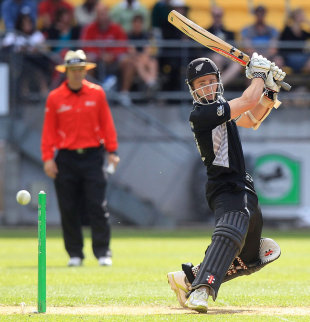 Kane Williamson chops the ball towards point, New Zealand v South Africa, 1st ODI , Wellington, February 25, 2012
