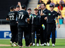 New Zealand get together after a wicket