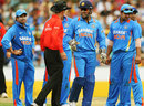 MS Dhoni talks to umpire Billy Bowden about India's appeal for obstructing the field, Australia v India, CB Series, Sydney, February 26, 2012