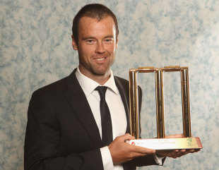 Rob Quiney with the domestic player of the year trophy at the 2012 Allan Border Medal Awards, Melbourne, February 27, 2012