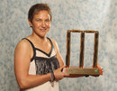 Shelley Nitschke poses with the Belinda Clarke Award trophy at the 2012 Allan Border Medal Awards, Melbourne, February 27, 2012