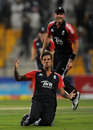 Jade Dernbach celebrates his wicket to hand England victory