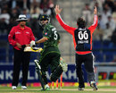 Graeme Swann pleads for the wicket of Awais Zia