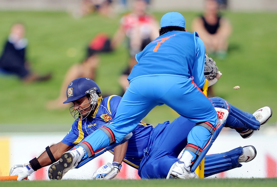 Kumar Sangakkara dived to bring up his century