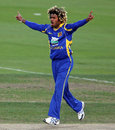 A rare moment of celebration on a difficult day for Lasith Malinga , India v Sri Lanka, CB series, Hobart, February 28, 2012
