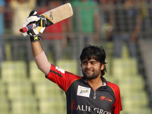 Ahmed Shehzad acknowledges the applause after completing his hundred, Barisal Burners v Duronto Rajshahi, BPL, 1st semi-final, Mirpur, February 28, 2012