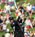 Andrew Ellis goes for a big shot, New Zealand v South Africa, 2nd ODI, Napier, February 29, 2012