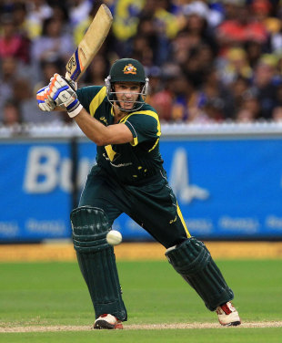 Michael Hussey plays a drive, Australia v Sri Lanka, CB series, Melbourne, March 2, 2012