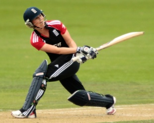 Charlotte Edwards sweeps during her hundred, New Zealand Women v England Women, 2nd ODI, Lincoln, March 3, 2012