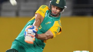 Albie Morkel launches the ball for six
