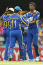 Farveez Maharoof is congratulated on dismissing Shane Watson, Australia v Sri Lanka, Brisbane, CB Series 1st final, March 4, 2012