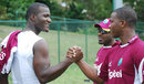 Darren Sammy meets Johnson Charles at the West Indies training camp, Barbados