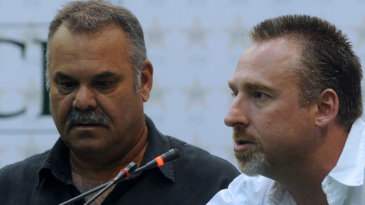 Dav Whatmore and Julien Fountain at a press conference