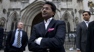 Lalit Modi leaves the High Court in London after a hearing in a libel case against him